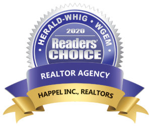 Readers choice award 2020 from Quincy Herald whig. besst Realtor agency Happel Inc Realtors